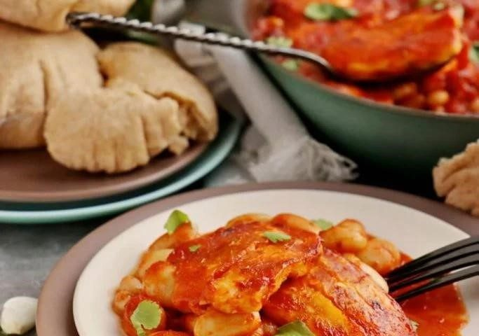 baked halloumi and tomato dish